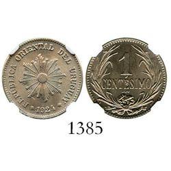 Uruguay (struck in Poissy, France), copper-nickel 1 centesimo, 1924, encapsulated NGC MS 66