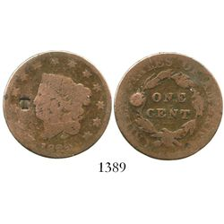 """West Indies (Tortola?), small """"T"""" countermark on a USA copper large cent of 1822.  9.3 grams. Bold c"""