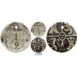 Cuba (Mayari), silver 1/2-real(?) token made from a US Seated Liberty half dime (1800s), very rare.