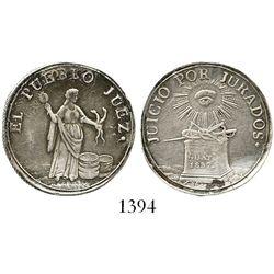 """Guatemala, silver 2R-sized """"trial by jury"""" medal, 1837.  6.7 grams. Legends read """"Juicio por Jurados"""