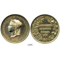 Jamaica, silver-plated brass International Exhibition medal, 1891, Queen Victoria.  32.1 grams. Bold