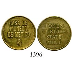 Mexico, brass mint-trial token for Turkish 50 kurus (ca.1980) struck at the Mexico City mint.  4.1 g