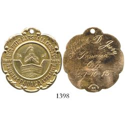 Panama, gold (10K) medal, 1913, McClintic Marshall Const Co. (Panama Canal), engraved on back to Art