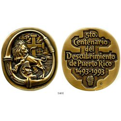 Bronze medal made by artist Lorenzo Homar (1913-2004) in 1993 to commemorate the 500th anniversary o