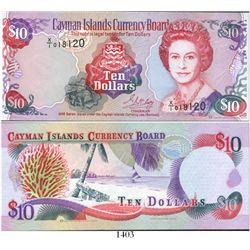 "Cayman Islands Currency Board, ten dollars, 1996 experimental paper (X/1 note), rare. KM-18b. 6-1/8"""