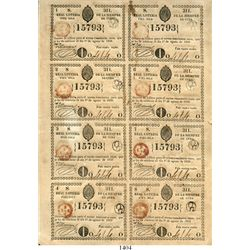 """Cuba (under Spain), uncut sheet of 8 lottery tickets, 1839 (Isabel II).  8-1/2"""" x 12-1/4"""". This is a"""