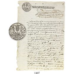Original 1642 document from Bolivia with unique pillars-and-waves seal at top.  8-1/2  x 12-1/4 . Ty