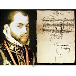"""Original 1575 document signed by King Philip II of Spain (""""Yo El Rey""""), with translation by Dr. Fran"""