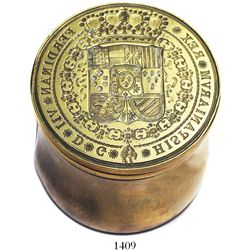 "Brass die for wax seals on official Spanish documents, Ferdinand VII (1808-33).  1189 grams, 2-3/8"""