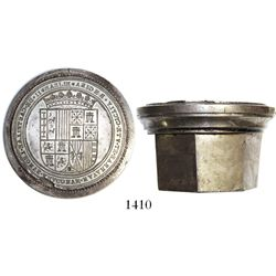 Large steel die for wax seals on official Spanish documents, Isabel II (1833-68).  1990 grams, 3-3/4