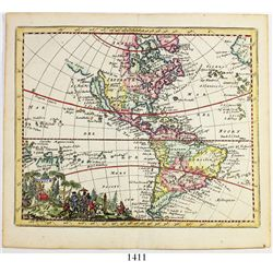 """Small Dutch copper-plate engraving of a map entitled """"America"""" by Jacob Peeters from L'Atlas en abre"""