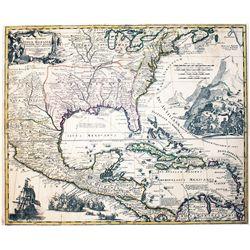 "Large German map of Mexico, Florida and the Caribbean entitled ""Regni Mexicani Seu Novæ Hispaniæ, Lu"