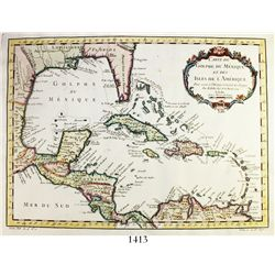 """French map of the Caribbean, dated 1754, by Jacques Nicolas Bellin, entitled """"Carte du Golphe du Mex"""