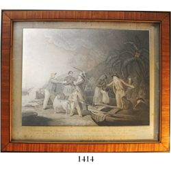 Color mezzotint print of an English stipple engraving by John Raphael Smith from a painting by Georg