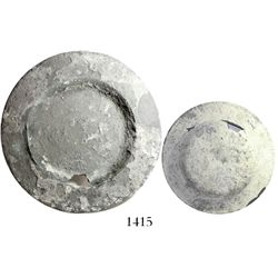 Silver plate, encrusted but intact.  588 grams, 9-1/4  in diameter. A typically bowl-like plate with