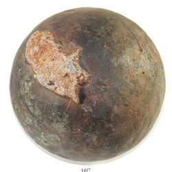 Bronze cannonball with spot of encrustation, rare.  Over 13 lb, 4-1/2  in diameter. The well-preserv