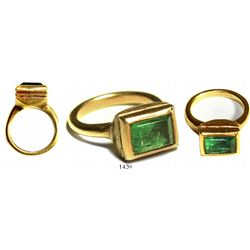Gold/emerald ring, approx. 3 carats, ladies' size 3.   A fairly clear, green gem (not too dark) with