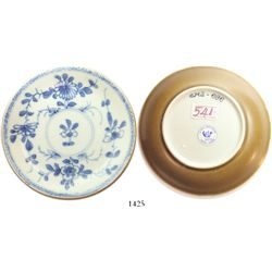 """Chinese blue-on-white porcelain saucer, K'angxi, floral design, intact.  69.5 grams, 4-1/2"""" in diame"""