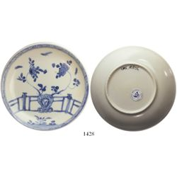 Chinese blue-on-white porcelain saucer, K'angxi, fence-and-flowers design, intact.  67.2 grams, 4-1/