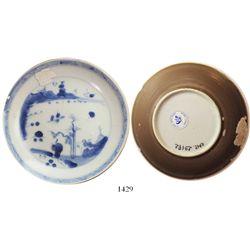 "Chinese blue-on-white porcelain saucer, K'angxi, man-on-bridge design, intact.  73.8 grams, 4-1/2"" i"