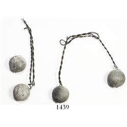 """Two pairs of wire shot (lead musketballs joined by twisted wire).  99.2 grams total, 6-1/2"""" long (fu"""