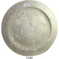 """English pewter plate, ca. 1703.  604 grams, 11"""" in diameter. Broad plate with shallow (1/2"""" deep) bo"""