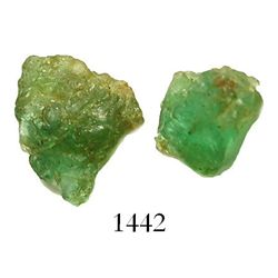 Lot of 2 natural emeralds, about 1.5 carats total, with Frank Sedwick certificates.   Fairly light c