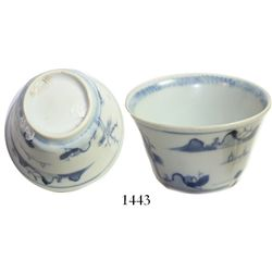 Chinese blue-on-white porcelain teacup, fisherman motif, intact but with encrustation (scarce thus).