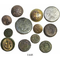 Lot of 12 brass and pewter buttons, including many naval officers' uniform buttons (British and Fren