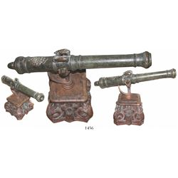 Bronze swivel cannon, Spanish or Portuguese, 17th century, with custom carved-mahogany stand.  About