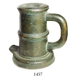 """Bronze signal cannon (upright), Spanish, late 1500s, with initials M S on side.  6150 grams, 6"""" tall"""