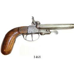Double-barrel pin-fire boot pistol, Civil War period (mid-1800s), made in Liege, Belgium.  495 grams