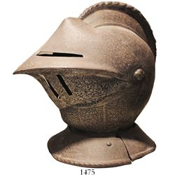 """Victorian-era replica of a steel medieval jousting helmet.  11 lb, 16"""" tall and roughly 12"""" in diame"""
