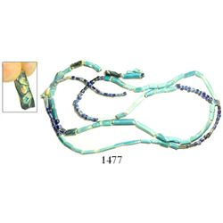 """String of glass beads, Spanish colonial (1500s).  64 grams, 52"""" long. Extra-long stringer of mostly"""