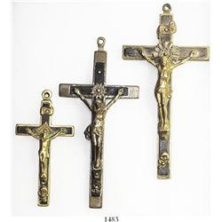 Lot of 3 brass/ebony crucifixes, European (French?), early 1800s, in Riker box.  59, 54 and 19 grams