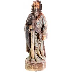 """Large, hand-carved wooden statue of St. Paul the Apostle, early 1900s.  37 lb, 37"""" tall and 11"""" at i"""