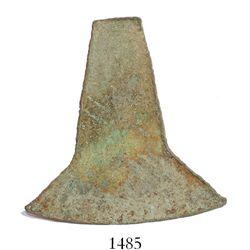 "Copper-arsenic ""hacha"" with flecks of gold from Ecuador (Cañari culture), ca. 1200 AD, rare.  17.1 g"