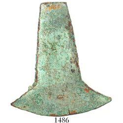 "Copper-arsenic ""hacha"" with flecks of gold from Ecuador (Cañari culture), ca. 1200 AD, rare.  25.7 g"