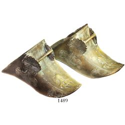 Pair of large brass estribos (covered stirrups), Spanish colonial (early 1800s).  2144 grams, each 1
