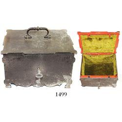 "European (French?) steel ""treasure box"" with key, ca. 1800-1840.  2780 grams, 7-1/2"" x 6"" x 4-1/4""."