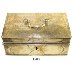 "Brass box (Dutch), ca. 1800-1820 (key missing).  598 grams, 8-1/4"" x 5"" x 3-1/2"". A thin-walled rect"