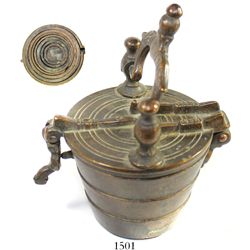 European (Italian?) brass nesting-weight set (complete with case and lid), 1800s.  1253 grams, 2-1/2