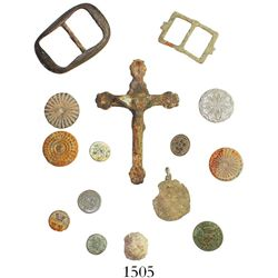 Small collection of buttons, buckles, crucifix, medallion and lead ball from the early 1700s to earl