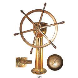 "Brass ship's helm (wheel and pedestal), Stetson-Ross, 1900s.  Pedestal: 38"" tall and 12"" in diameter"