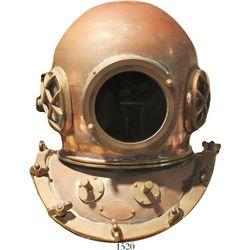 """Bronze dive helmet, Korean, 1970s(?).  About 34 lb, 14"""" in diameter and 17"""" tall. Bronze dive helmet"""