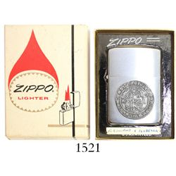 Classic Zippo lighter with Burgos, Spain, 1 real of Ferdinand-Isabel affixed on side, in original bo