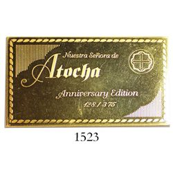 """Gold-plated silver plaque engraved with """"Nuestra Senora de Atocha Anniversary Edition 128/375"""""""