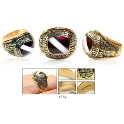 """Atocha """"Golden Crew"""" men's gold ring, size 11, 18K, made by Jostens for Treasure Salvors in 1985"""