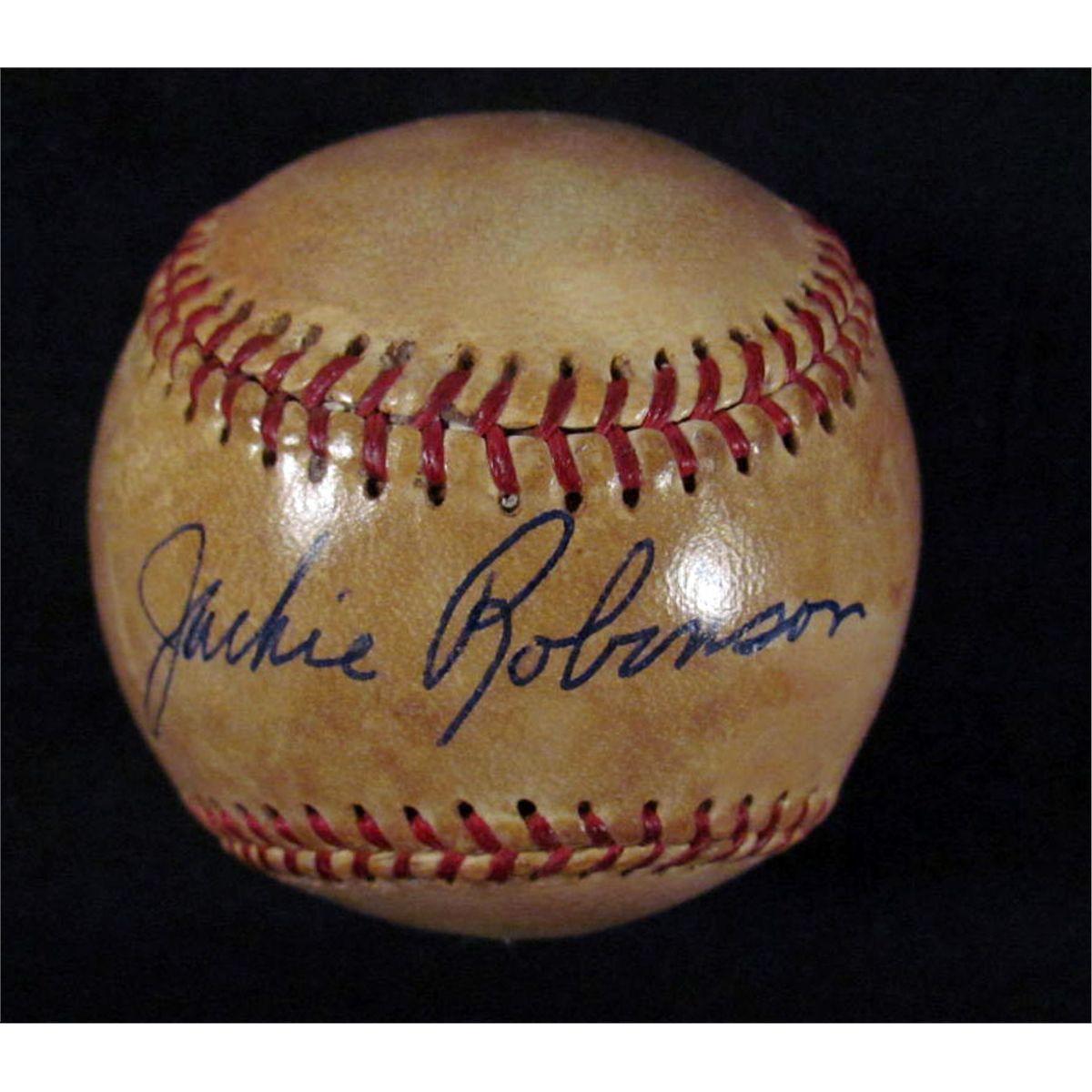 Jackie Robinson Autographed Baseball W Coa