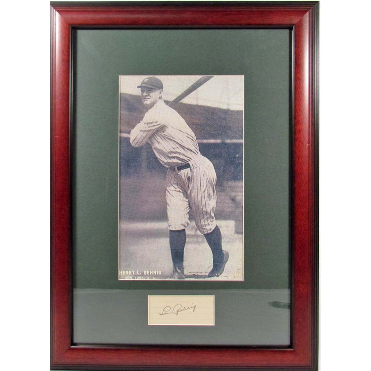 8d52eff06 Image 1 : CUT SIGNATURE OF LOU GEHRIG W/ PHOTO - FRAMED W/ COA ...